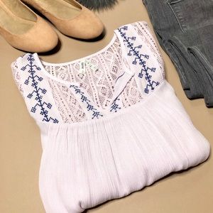 Pale Lilac Boho Crocheted Gauzy Blouse